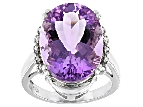 Purple Amethyst Rhodium Over Silver Ring 10.67ctw