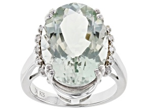 Green Prasiolite Rhodium Over Silver Ring 10.67ctw