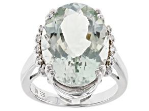 Green Amethyst Rhodium Over Silver Ring 10.67ctw