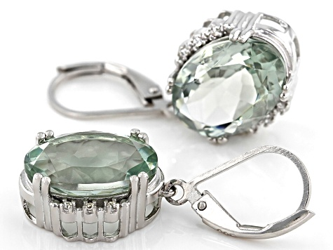 Green Prasilolite Rhodium Over Silver Earrings 10.08ctw