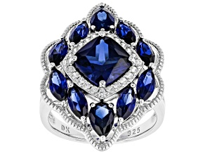 Blue Lab Created Sapphire Rhodium Over Silver Ring 5.53ctw