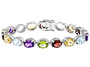 Multi-Color Gemstone Rhodium Over Silver Tennis Bracelet 20.84ctw