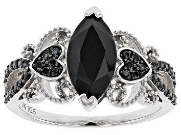 Picture of Black Spinel Rhodium Over Sterling Silver Ring 2.03ctw