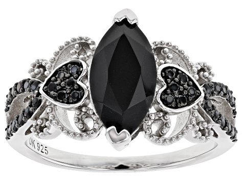 Black Spinel Rhodium Over Sterling Silver Ring 2.03ctw