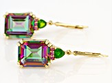 Multi Color Quartz 18k Yellow Gold Over Silver Earrings 9.92ctw