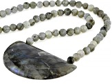 Gray Labradorite Rhodium Over Sterling Silver Necklace