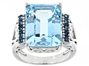 Sky Blue Topaz Rhodium Over Silver Ring 12.07ctw