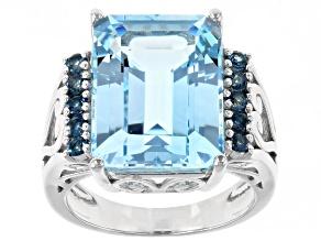 Sky Blue Topaz Rhodium Over Silver Ring 12.07ctw