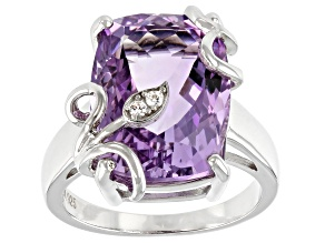 Lavender Amethyst Rhodium Over Silver Ring 8.52ctw