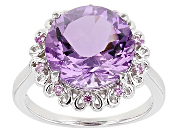 Picture of Purple Amethyst Rhodium Over Silver Ring 5.44ctw