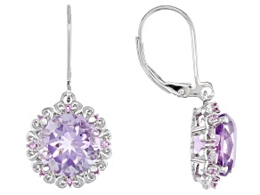 Purple Amethyst Rhodium Over Silver Earrings 6.09ctw
