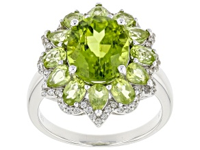 Green Manchurian Peridot™ Rhodium Over Sterling Silver Ring