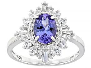Blue Tanzanite Rhodium Over Sterling Silver Ring 2.29ctw