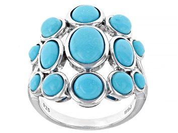 Picture of Blue Sleeping Beauty Turquoise Rhodium Over Sterling Silver Ring
