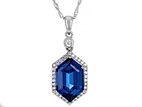 Lab Created Blue Spinel Rhodium Over Silver Pendant with Chain 6.81ctw