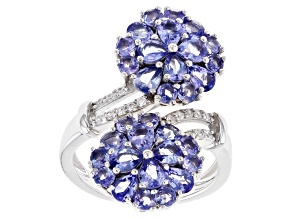 Blue tanzanite rhodium over sterling silver bypass ring 3.20ctw