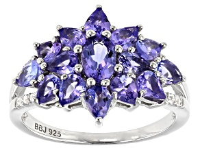 Blue Tanzanite Rhodium Over Sterling Silver Ring 2.41ctw