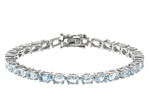 Blue Aquamarine Rhodium Over Silver Tennis Bracelet 10.35ctw