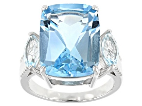 Blue Topaz Rhodium Over Sterling Silver Ring 12.69ctw