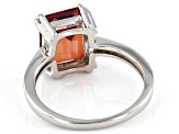 Red Labradorite Rhodium Over Silver Ring 2.77ctw