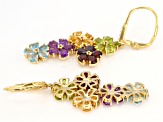 Green peridot 18k yellow gold over silver earrings 7.12ctw
