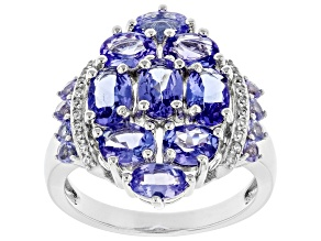 Blue Tanzanite Rhodium Over Silver Ring 3.04ctw