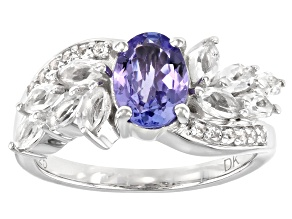 Blue Tanzanite Rhodium Over Sterling Silver Ring 2.11ctw