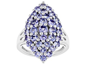 Blue Tanzanite Rhodium Over Sterling Silver Ring 2.31ctw