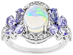 Multi-color Ethiopian Opal Rhodium Over Silver Ring 3.24ctw