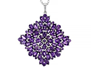 Purple Amethyst Rhodium Over Silver Pendant With Chain 9.08ctw
