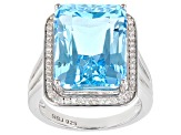 Blue topaz rhodium over sterling silver ring 11.73ctw