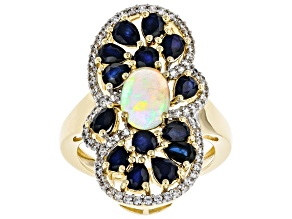 Multi-color Ethiopian Opal 18k Gold Over Silver Ring 3.14ctw