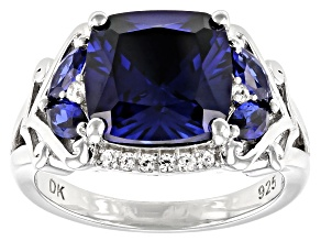 Blue Lab Created Sapphire Rhodium Over Silver Ring 5.27ctw