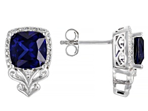 Blue Lab Created Sapphire Rhodium Over Silver Earrings 4.71ctw
