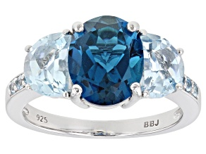 Blue topaz rhodium over silver 3-stone ring 3.70ctw