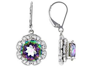 Multi-Color Quartz Rhodium Over Silver Earrings 6.15ctw