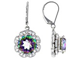 Multi-Color Quartz Rhodium Over Silver Earrings 6.15ctw