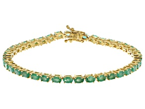 Green Emerald 18k Yellow Gold Over Sterling Silver Bracelet 6.60ctw