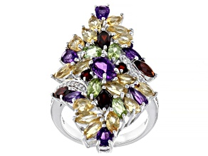 Multi-Color Gemstone Rhodium Over Silver Ring 4.64ctw