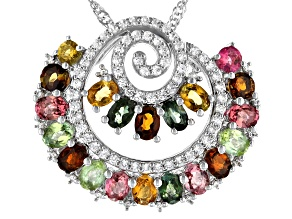 Multi-color tourmaline rhodium over sterling silver chain with pendant 3.84ctw