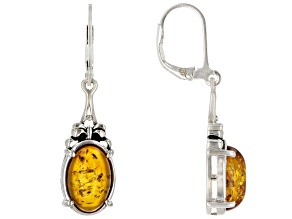 Orange amber rhodium over sterling silver oxidized earrings