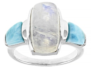 Rainbow Moonstone Rhodium Over Sterling Silver Ring