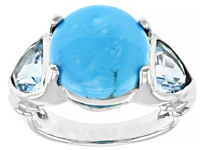 Blue Turquoise Rhodium Over Silver Ring 2.42ctw