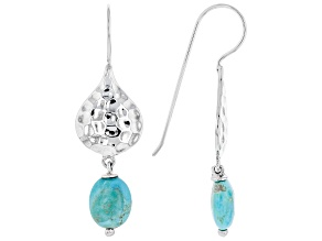 Turquoise Rhodium Over Silver Dangle Earrings