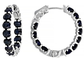 Blue Sapphire Rhodium Over Sterling Silver Inside Out Hoop Earrings 6.55ctw