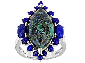 Blue Azurmalachite Rhodium Over Sterling Silver Ring