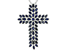 Blue Sapphire Rhodium Over Silver Pendant With Chain 4.85ctw