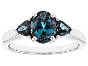 Blue Lab Created Alexandrite Rhodium Over Silver 3-Stone Ring 1.71ctw
