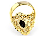 Black spinel 18k yellow gold over sterling silver ring 2.93ctw