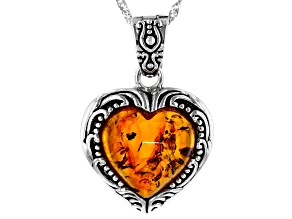 Orange amber rhodium over sterling silver enhancer with chain